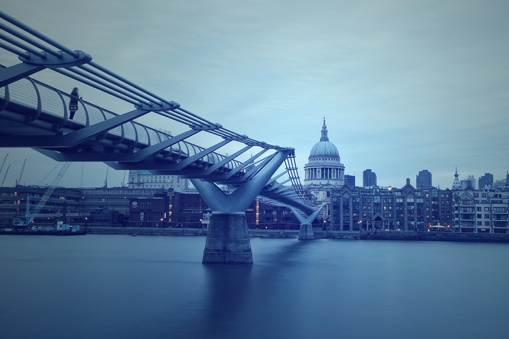 St Paul's Cathedral and Millenium Bridge, London, England, UK